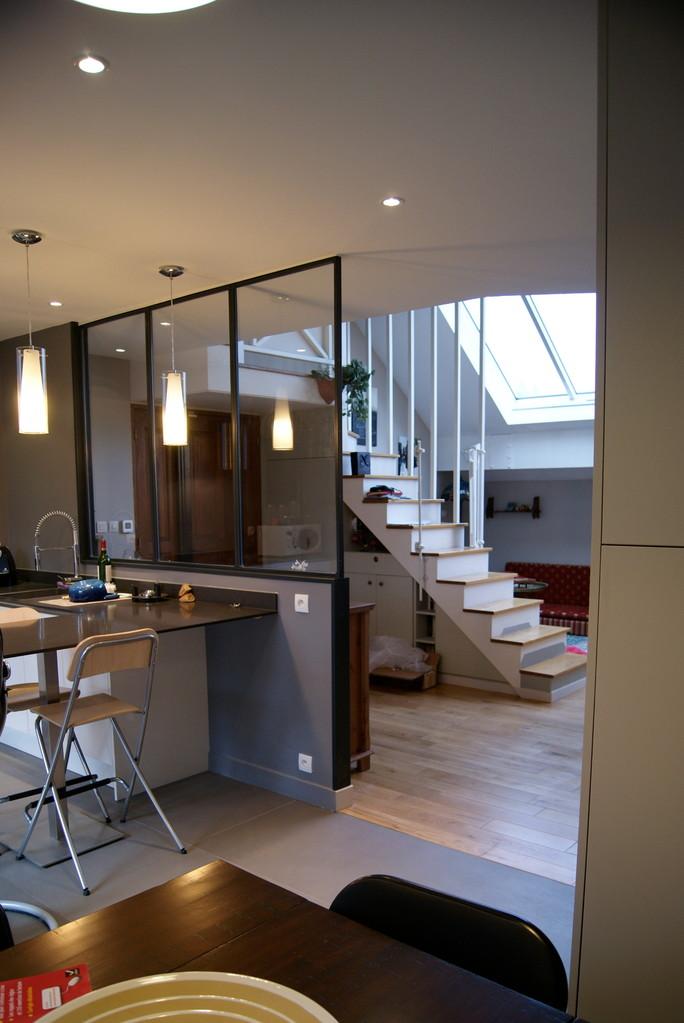 """cuisine """"family room"""" sol béton ciré et bois"""
