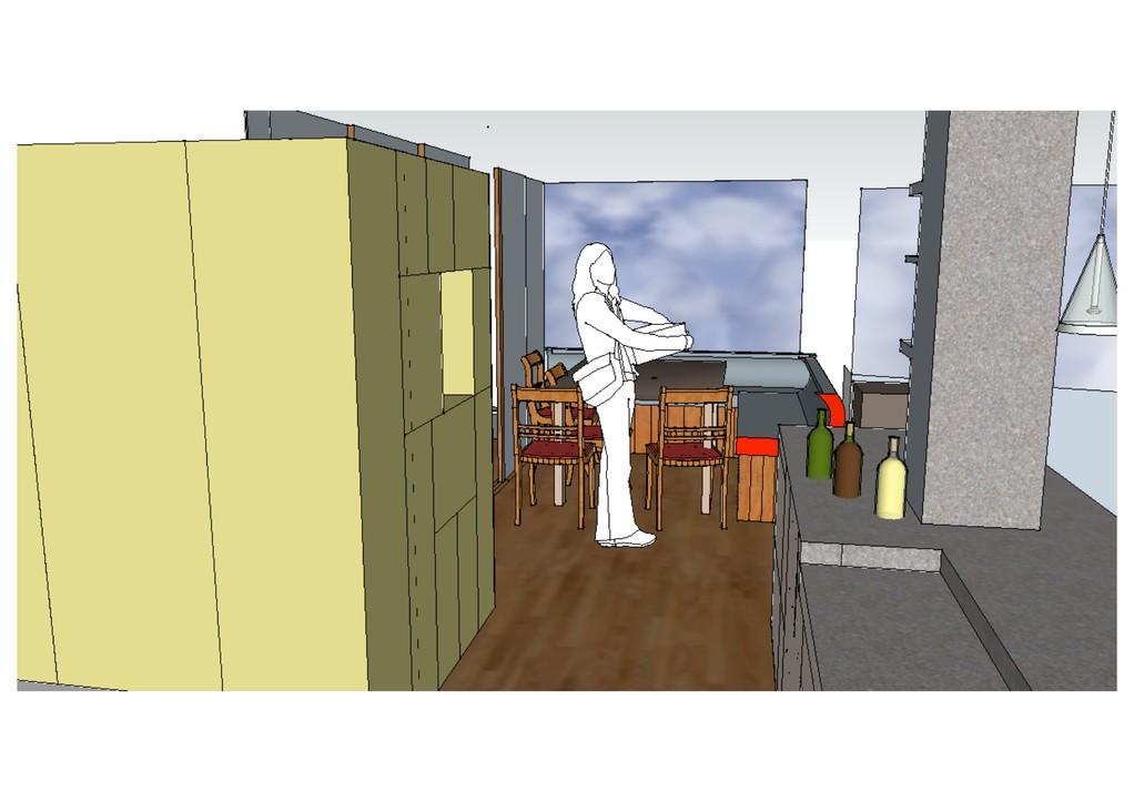 délimitation espace entrée et cuisine par blocs placards