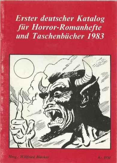 Erster deutscher Katalog für Horror-Romanhefte und Taschenbücher 1983