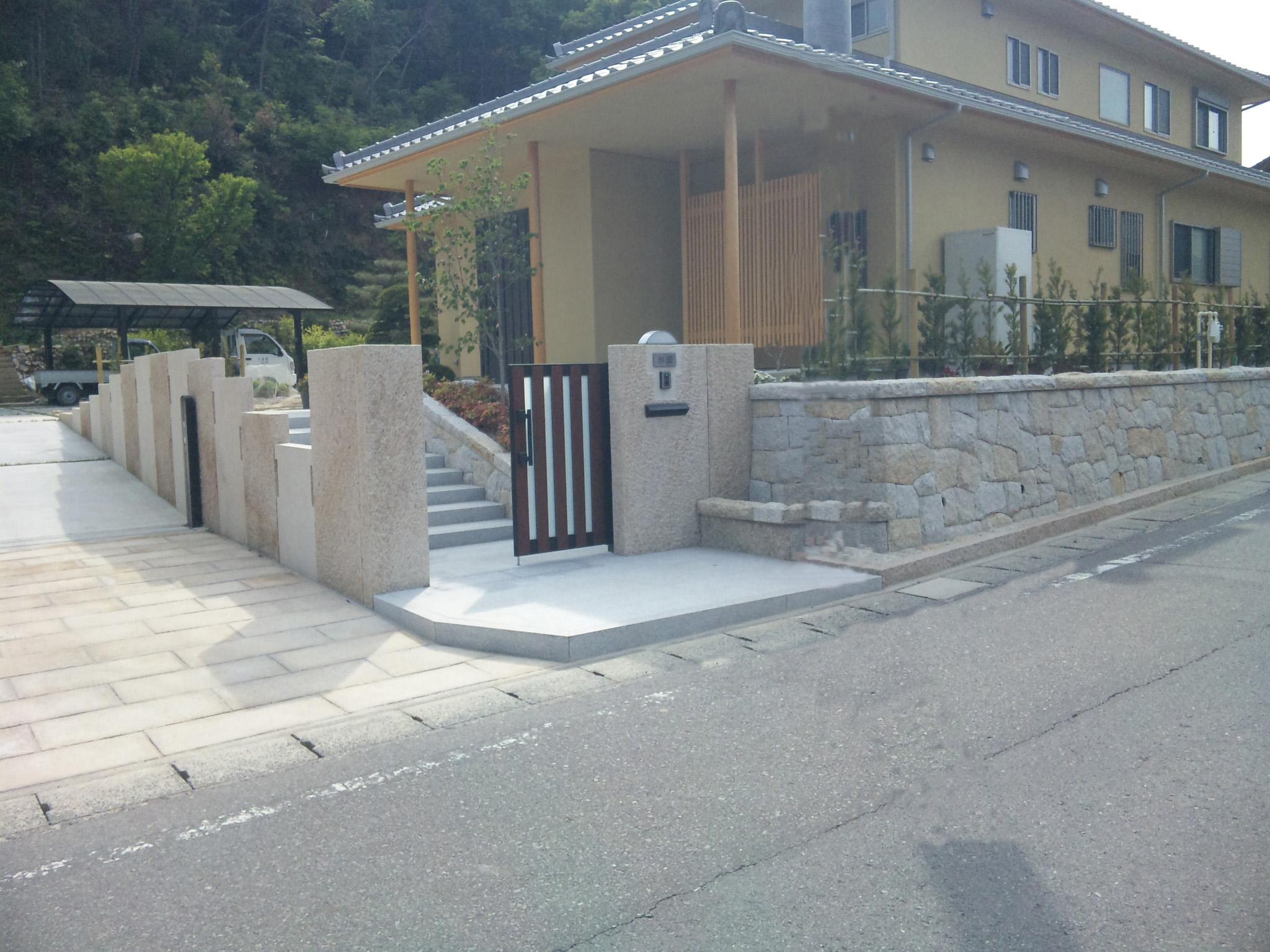 門柱壁石一式工事 錆石