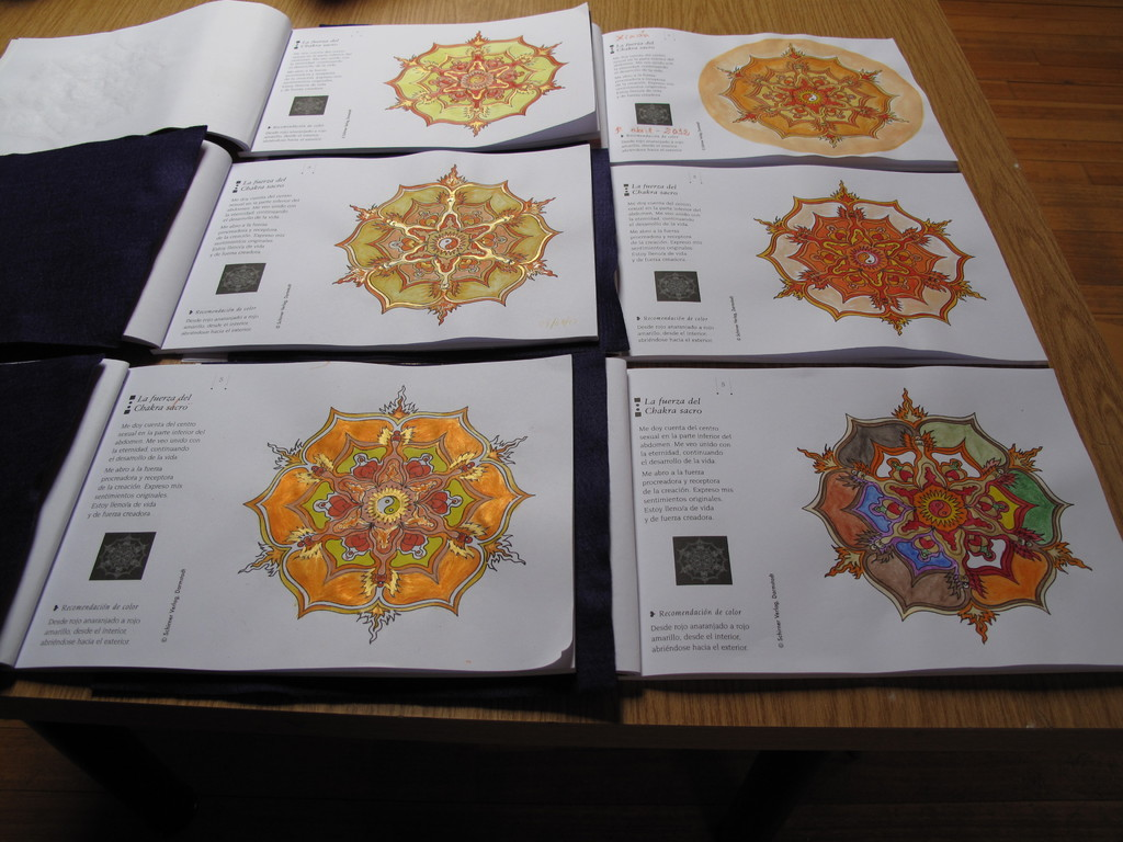 Seis muestras del mandala del chacra sacro