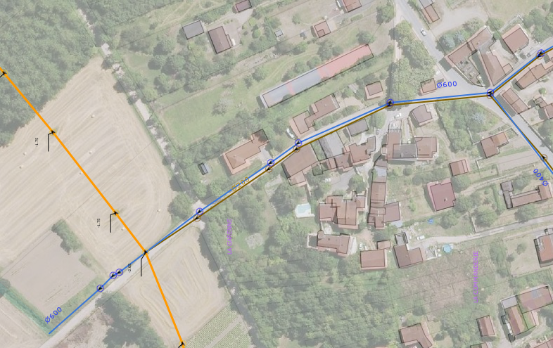 Légende : Marron collecteur eaux usées , Bleu collecteur eaux pluviales & Orange collecteur transport eaux usées