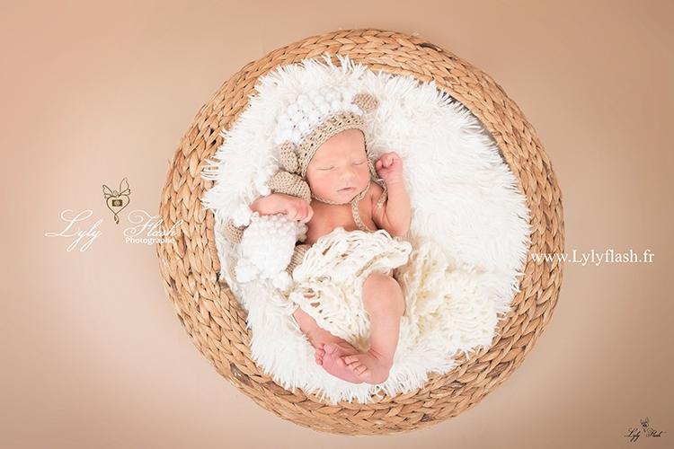 photo d'un bébé dans un panier avec une peluche mouton par une photographe de talent