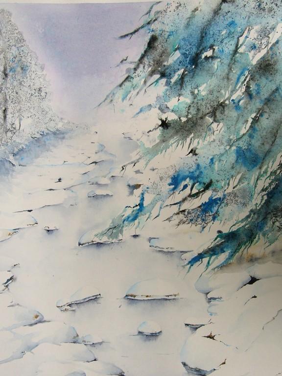 Ruisseau sous la neige 60 x80