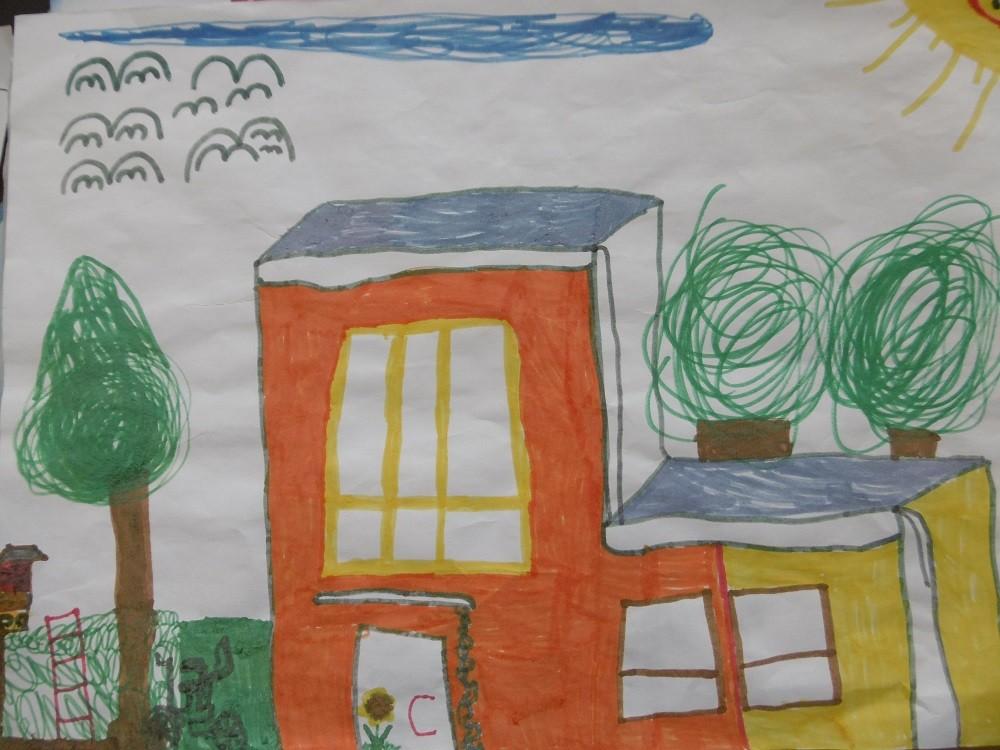 Unser Kindergarten , gemalt von Lisa ( 5 Jahre )