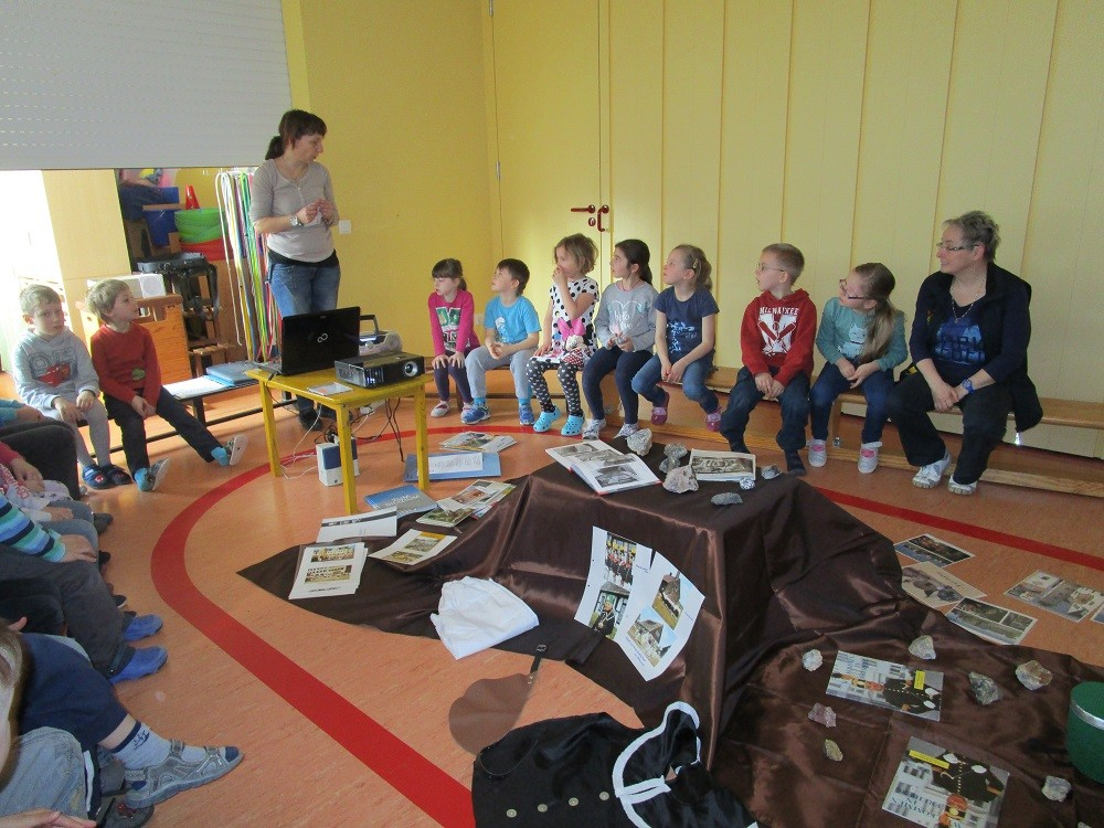 Die Kinder erfahren viel aus der Bergbaugeschichte unserer schönen Stadt Freiberg