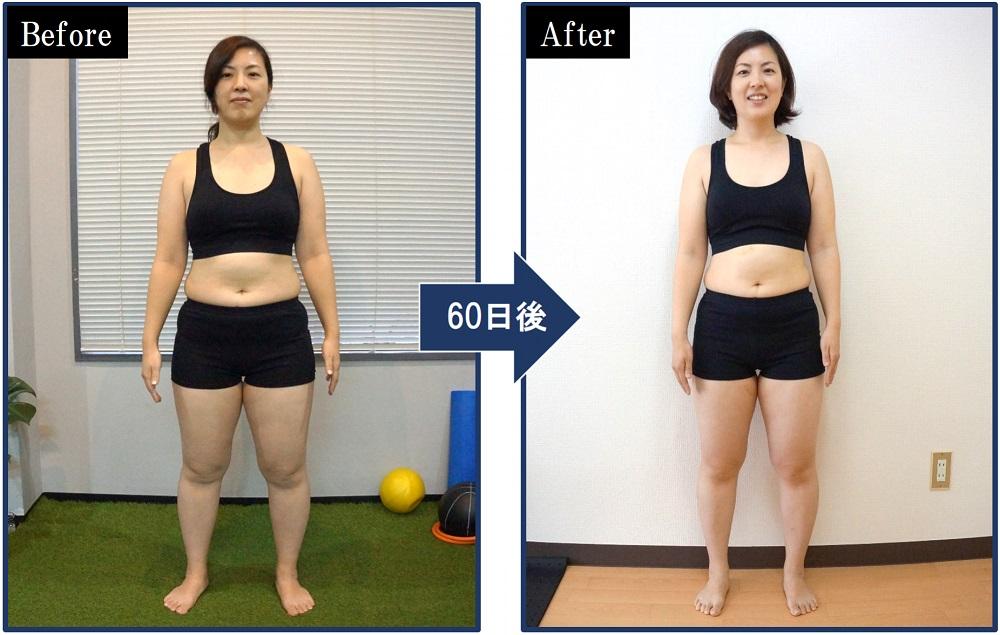 パーソナルトレーニング実施から60日後の正面からの写真。