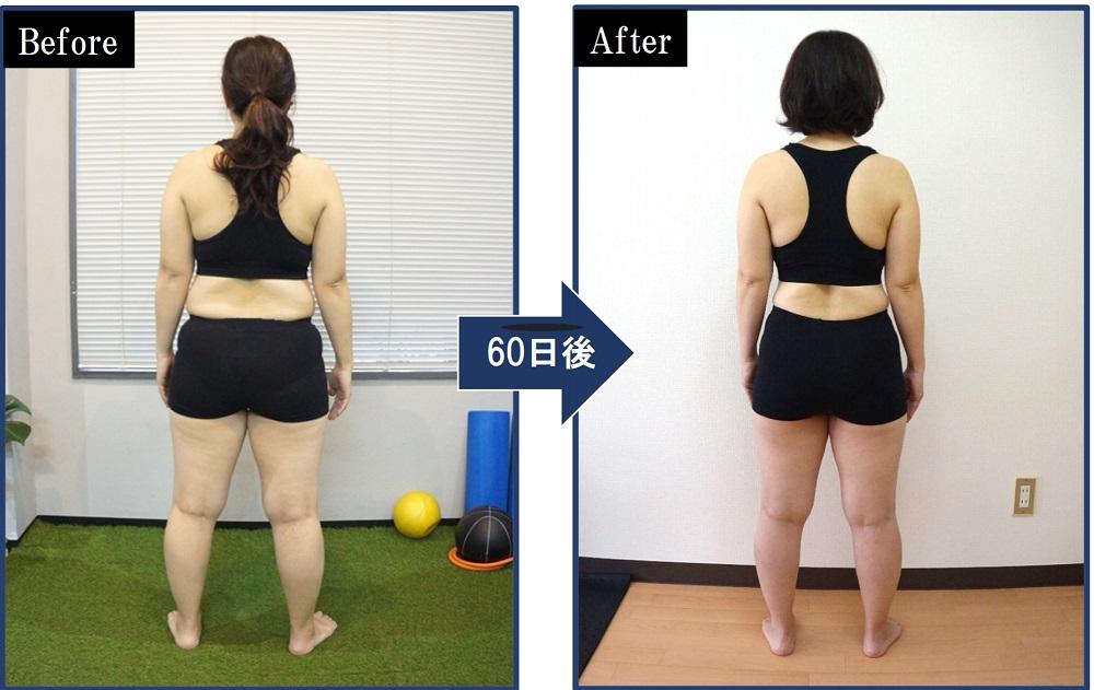 パーソナルトレーニング60日後の後ろからの写真。