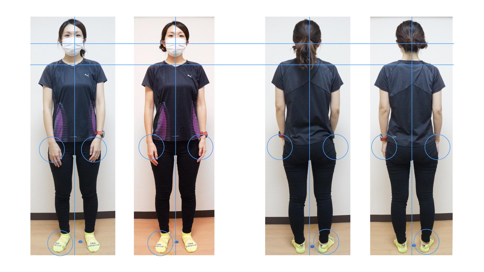 筋膜リリースおよび皮膚への刺激に加えダイナミックストレッチからスタティックストレッチ、PNF実施後の正面と後面の姿勢の状態です。中野パーソナルトレーニングジム
