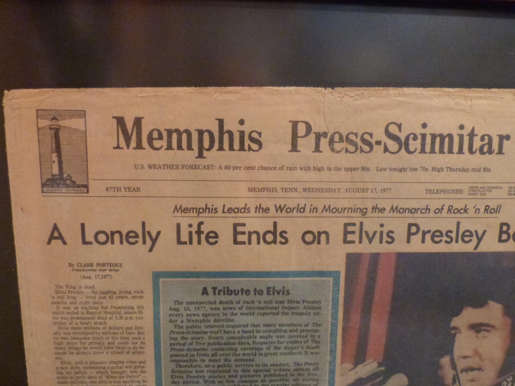 Journal du jour du décès d'Elvis
