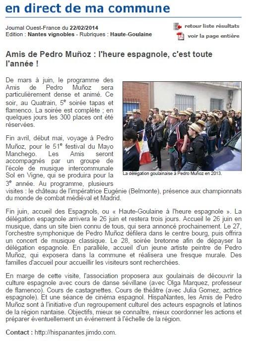 Contrairement à ce qui est indiqué dans le journal, la soirée tapas & flamenco a eu lieu le samedi 22 MARS.