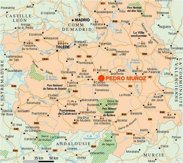 Localisation de Pedro Muñoz en Castilla la Mancha