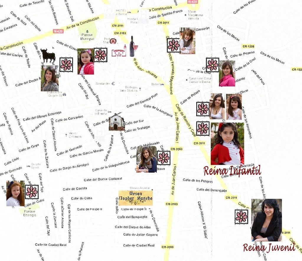 Plan de Pedro Muñoz et localisation des maisons des Damas