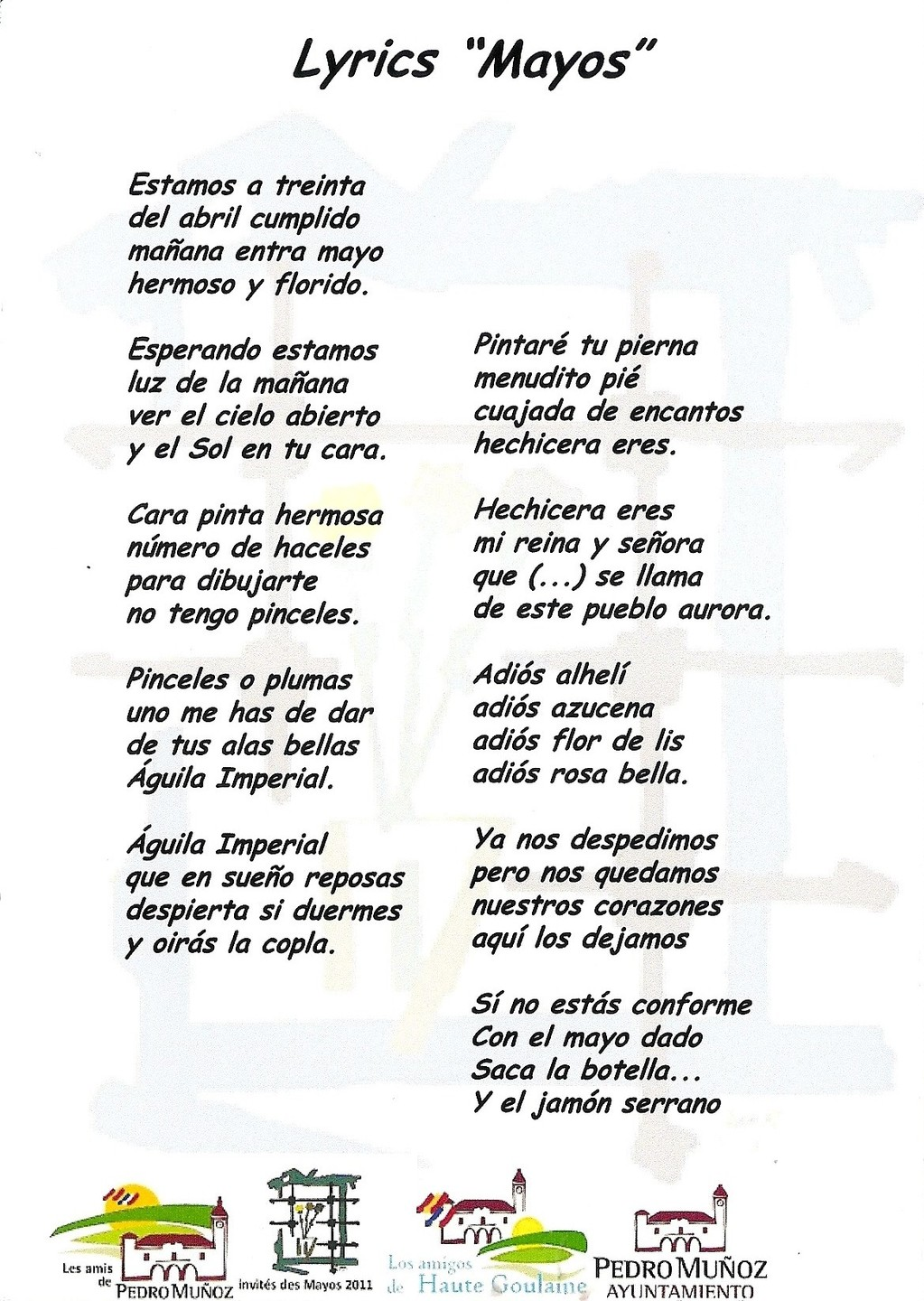 Paroles de la chanson du Mayo Manchego