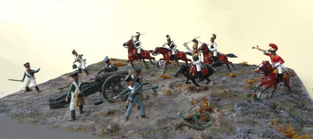 Sachsons Regimet Leib-Cuirassier-Garde in attak an russian Guard Artillery near Wachau, south of Leipzig, at 16th October 1813.