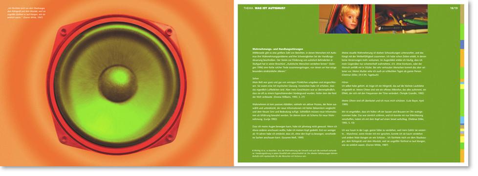 Broschüre Doppelseite mit Lautsprecher