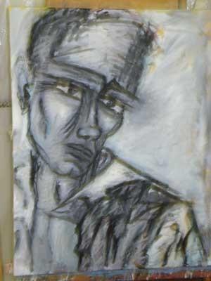 portrait technique mixte sur toile