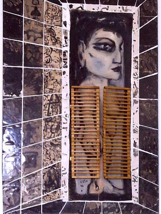"""Série Carmen  """"Carmen au bain""""Acrylique sur toile marouflé sur bois, photos, bois 2010"""