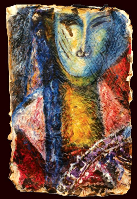 """Serie Impression Presse """"Double"""" huile sur papier journal tressé 1980"""