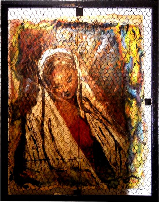 """Serie Impressions Presse """" Tendresse"""" Huile sur papier journal tressé 1980"""