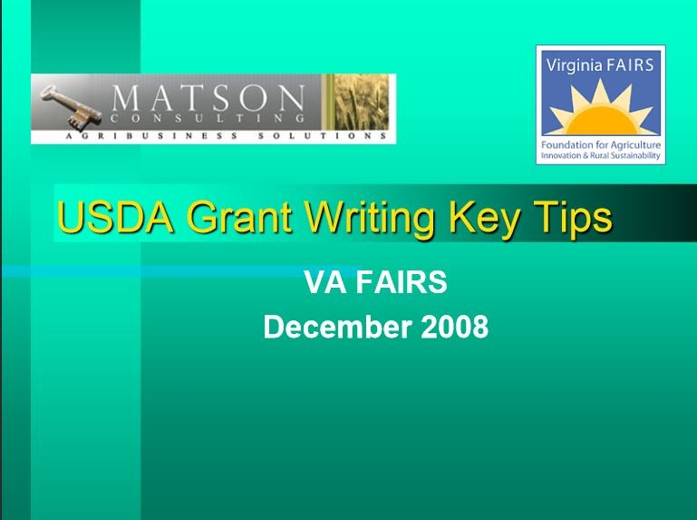 Key Tips for USDA Grant Writing