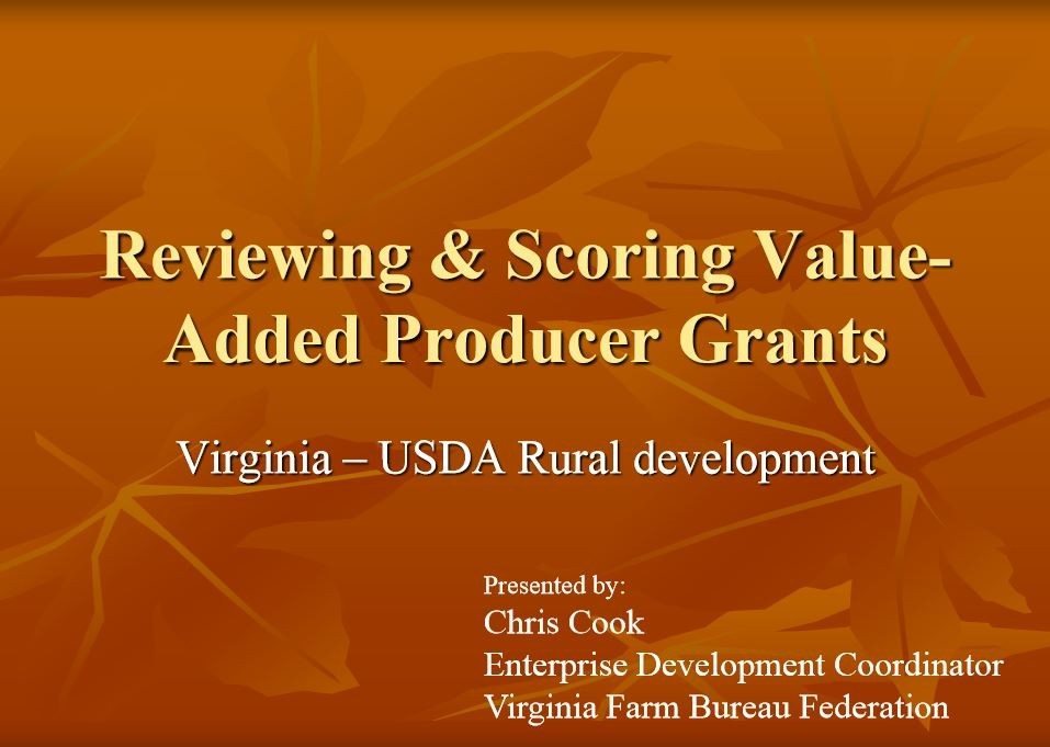 Reviewing & Scoring Value Added Producer Grants