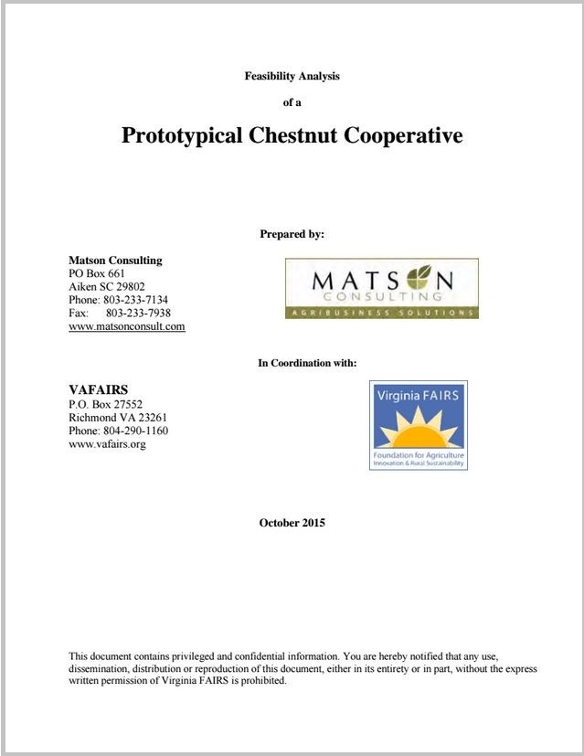 Feasibility Analysis of a Prototypical Chestnut Cooperative
