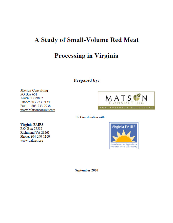 Small-Volume Red Meat Processing in Virginia