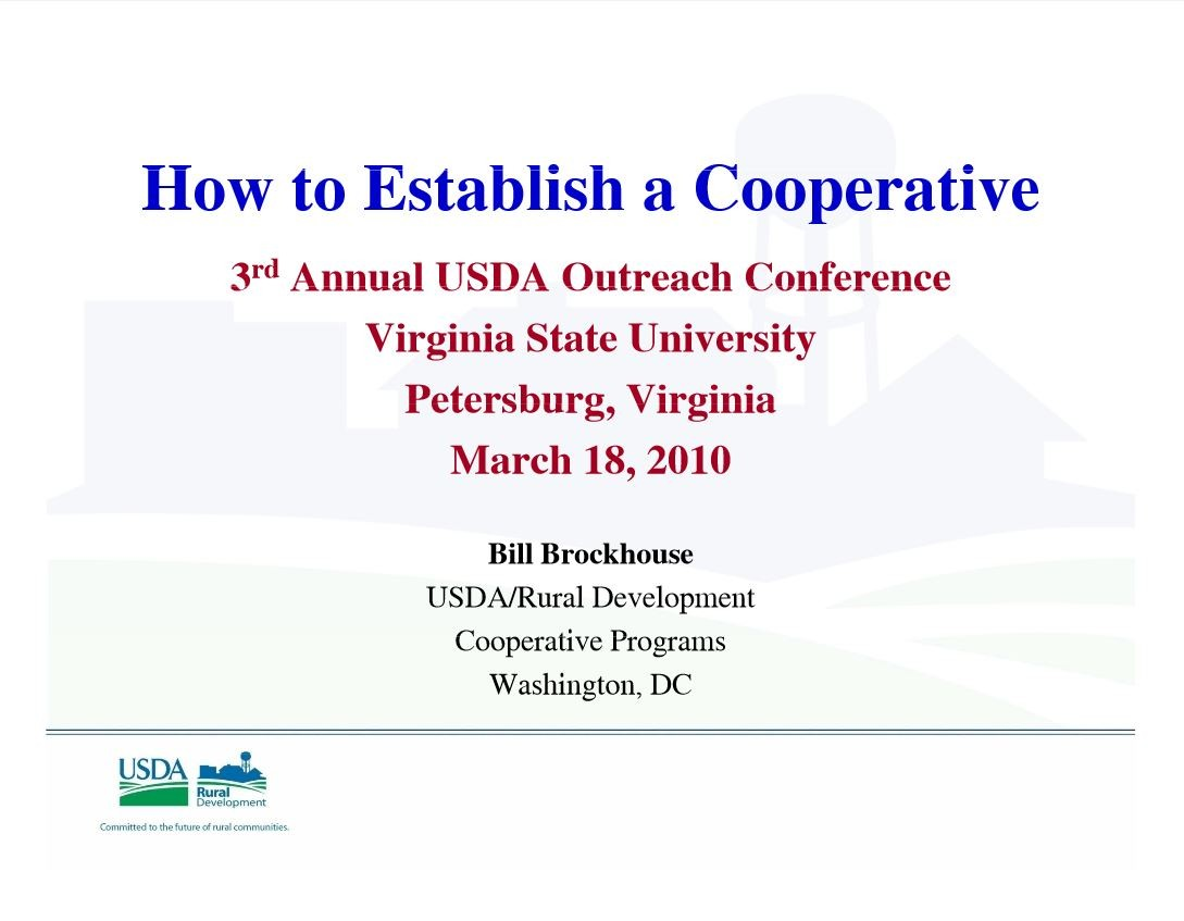 How to Establish a Cooperative - Brockhouse