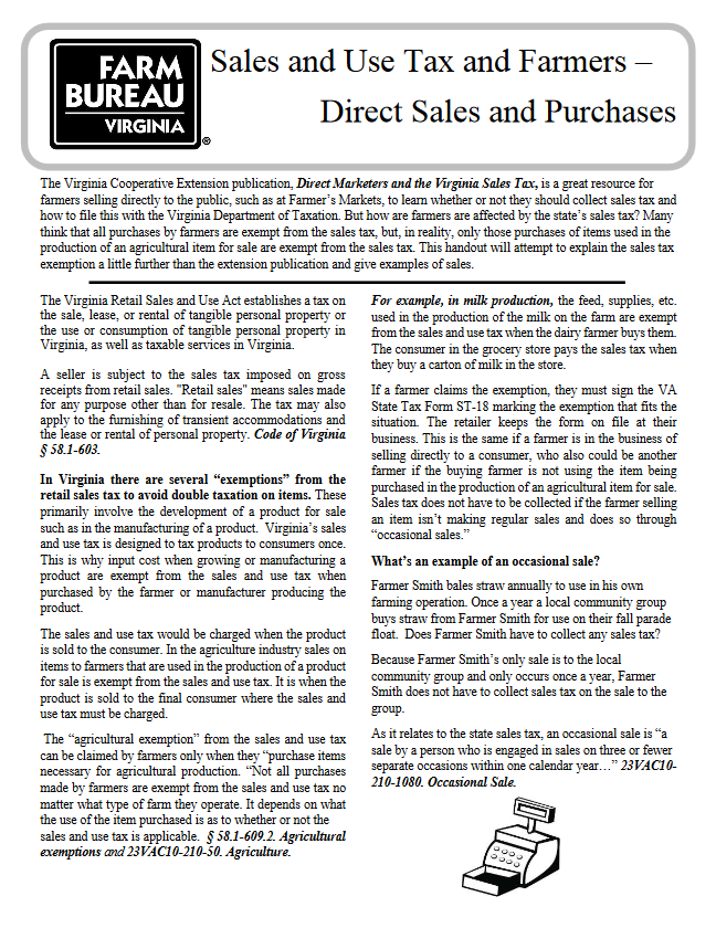 Virginia Sales and Use Tax and Farmers  – Direct Sales and Purchases