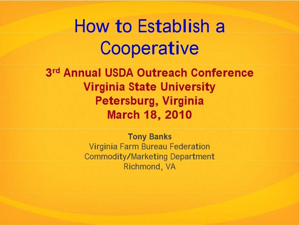 How to Establish a Cooperative - Banks