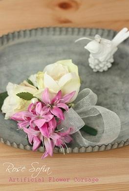 Rose Corsage 10cm(~14cm)¥3,800(税込) ※花材選べます