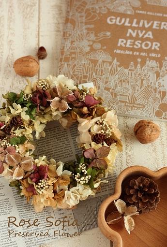 Lovely Wreath 19x19 ¥4,500+税 ※お好きな色で作れます
