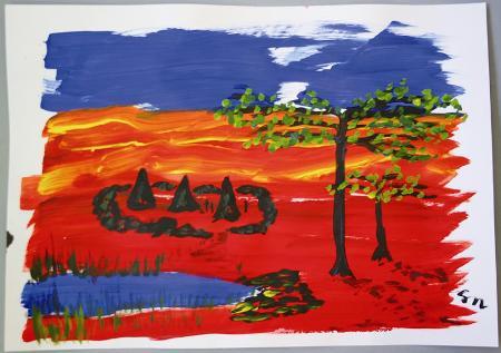 """""""Der Baum""""                        Aquarellpapier A2   (Foto: Karin Girlatschek)"""