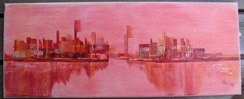 """Skyline rot"", Keilrahmen 20 x 50, 80 €"