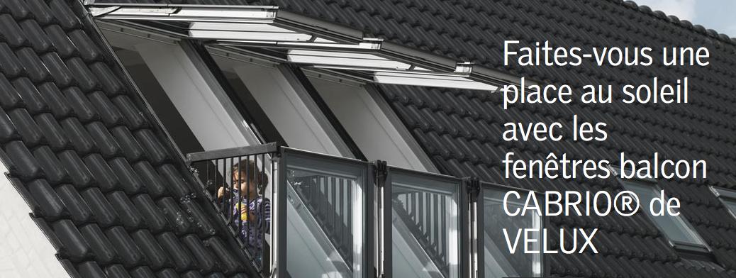 Fenêtres balcon de Velux en toiture