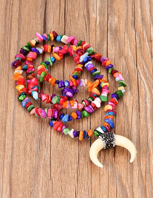 Sautoir corne & perles de couleur