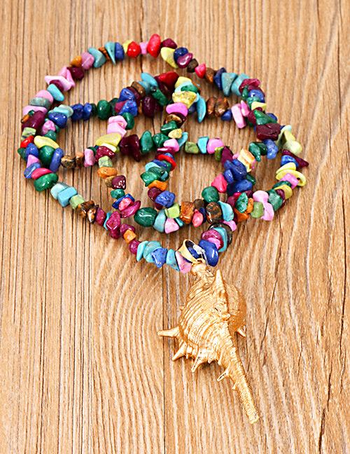 Sautoir coquillage doré & perles de couleur