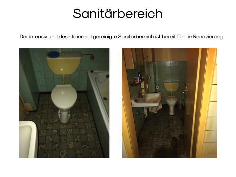 Desinfizierend gesäuberter Sanitärbereich