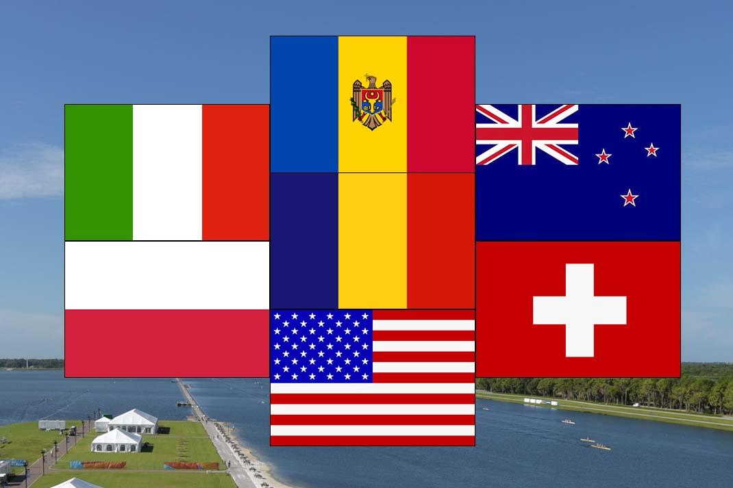 13 Männer-Doppelvierer sind in Sarasota/Florida am Start. Die Nationen im Porträt. Grafik: 2000meter.de