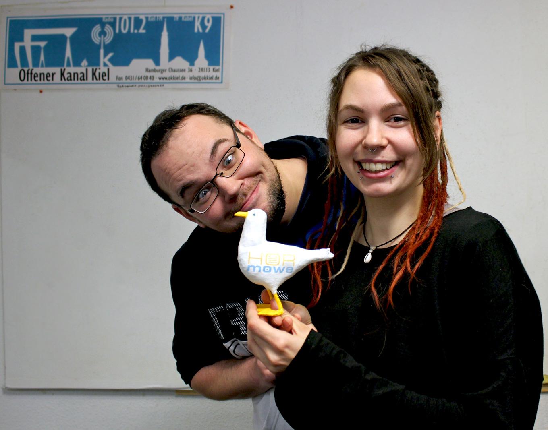 Erik & Coco mit der Hörmöwe im Radiostudio - Dezember 2020