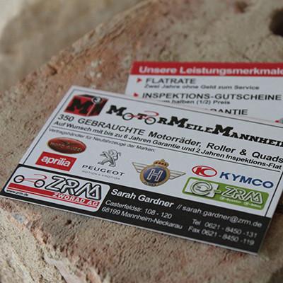 ZRM AG Motormeile Mannheim M3 Visitenkarten
