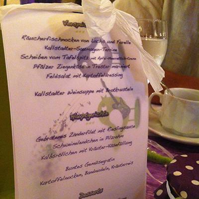 Hochzeitsmenükarte