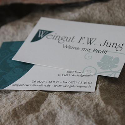 Weingut FW Jung Visitenkarten Naturpapier cremefarben