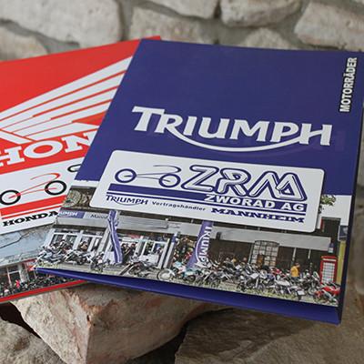 ZRM AG Mannheim Verkaufsmappe A4 Triumph u. Honda