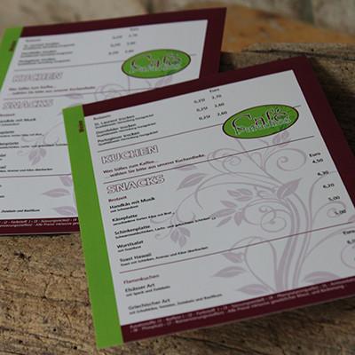 Café Paradies Karlsberg Speise- und Getränkekarte A5