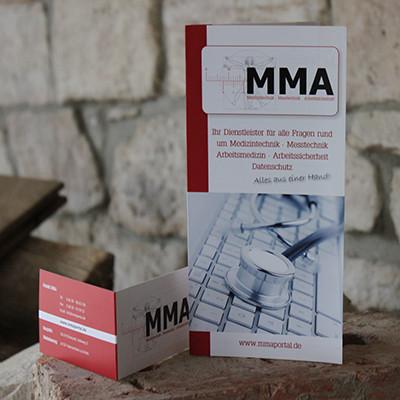 MMA Werbefolder DIN Lang und Klappvisitenkarte