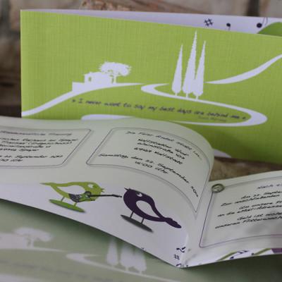 Hochzeitseinladung Leinenpapier mit Einleger Transparentpapier