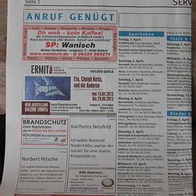 ERMITá Zeitungsannounce