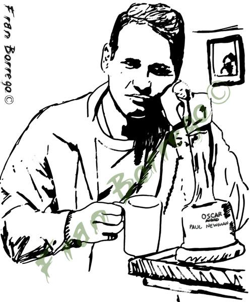 Paul Newman y su Oscar descansando
